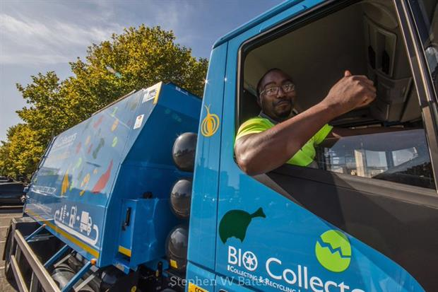 A food waste collection truck, image copyright @BioCollectors
