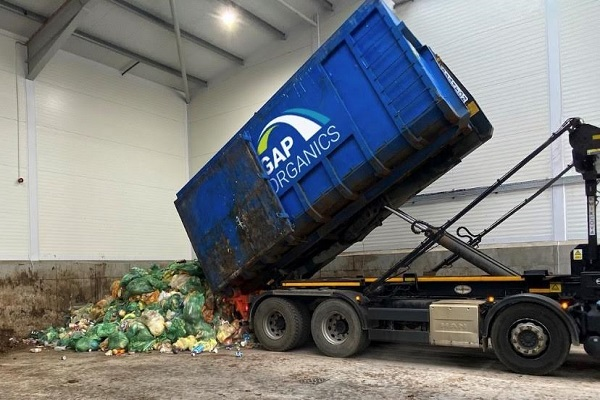 Food waste ready for a biogas plant