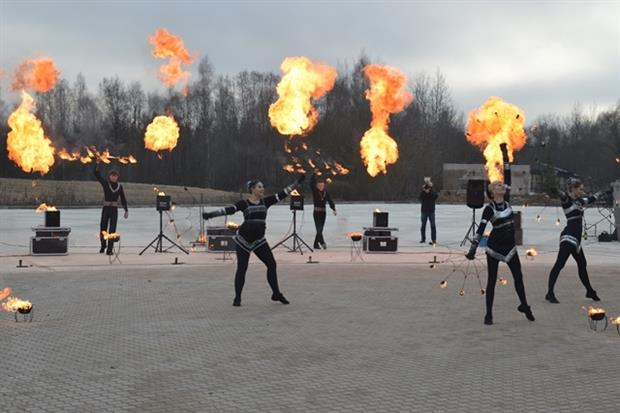 Performers at the plant's opening