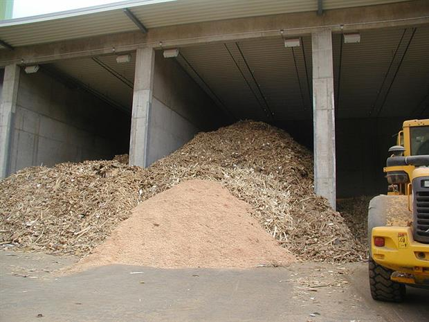 Waste wood ready for processing