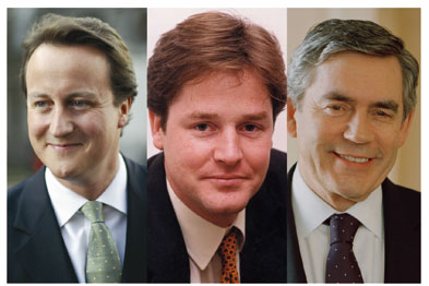 (Left to right) David Cameron, Nick Clegg and Gordon Brown