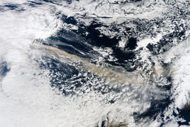 Satellite image of the ash cloud (grey, centre) from Eyjafjallajokull glacier (Photograph: SPL)