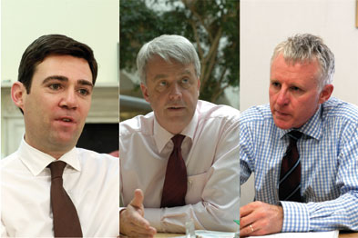 (L-R) Andy Burnham, Andrew Lansley and Norman Lamb