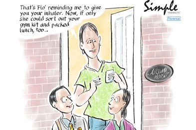 Professor Chambers: 'Better compliance should minimise exacerbations of their condition.' Cartoon: Chris Chambers