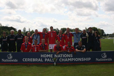 Dr Richard Weiler (second from right) is looking for players for the England cerebral palsy football team