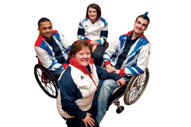 GP Dr Penny Atkinson (front) with Team GB wheelchair rugby team members Bulbul Hussain, Kylie Grimes and David Anthony (left to right)