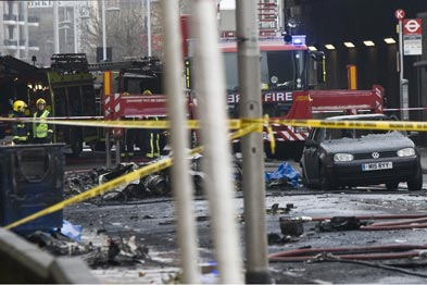 The scence of the helicopter crash in Vauxhall (Photo: Rex)