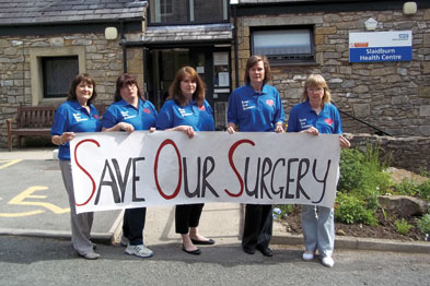 Dr Karen Massey (centre) fears her practice may not survive MPIG cuts