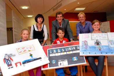Front: Pupils Maisie Cole, Jack Greenwood, Eleanor Godhard. Rear: Wendy Carlton (artist), Dr Ollie Hart and Jim Whitehead (teacher)