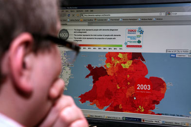 Alzheimer's Society has an interactive dementia map for the UK