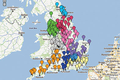 Map showing 257 clinical commissioning groups (CCGs); colour denotes NHS region