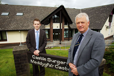 Mr Gimblett, left, practice manager at the Castle Surgery and GP Dr Rhidian Lewis