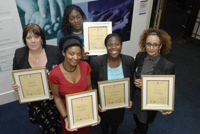 Front left to right: Stephanie Allen, Pamela Shaw, Sandra Anto-Awuakye, Ofrah Muflahi, and Gloria Urhoma (back row)