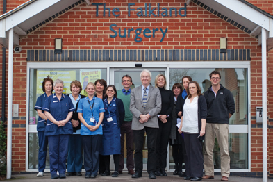 Prizewinner Dr Tim Walter (front row, centre) and colleagues at the falkland Surgery in Newbury, Berkshire