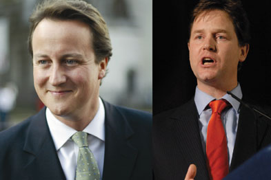 Cameron and Clegg in coalition government