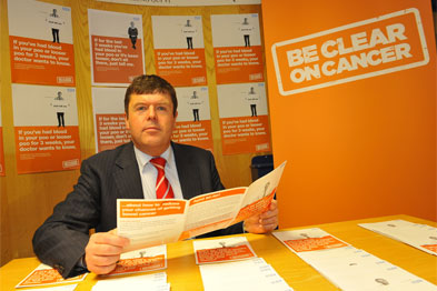 Paul Burstow MP unveils the 'Be Clear on Cancer' campaign, which started in January this year (Photograph: DH)