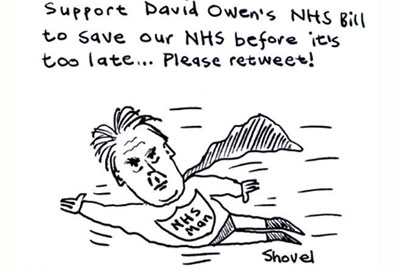 Can former hospital doctor and now crossbench peer Sir David Owen fly to the rescue of the NHS? (By Martin Shovel)