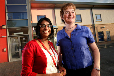 Bradford District Care Trust's health trainer service manager Nurjahan Ali Arobi with GP Dr Clare Connolly