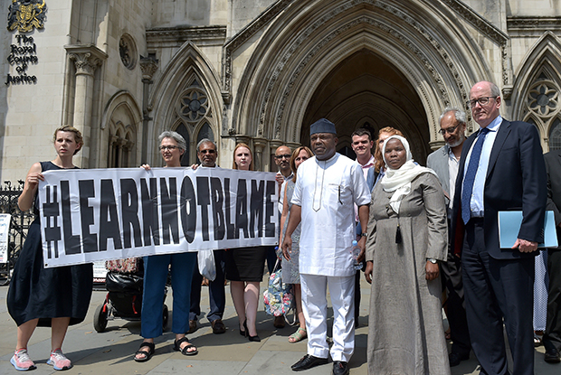 Dr Hadiza Bawa-Garba and her supporters pictured outside the Court of Appeal on Wednesday (Photo: Nick Ansell/PA Wire/PA Images)