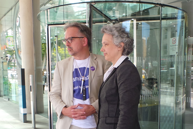 Dr David Nicholl and Dr Jenny Vaughan protest outside GMC headquarters