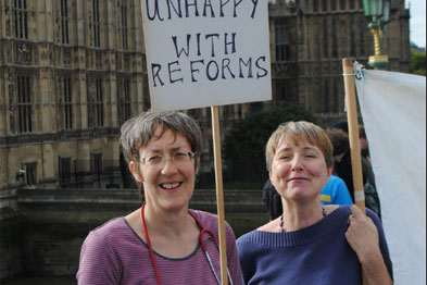 Dr Louise Irvine (left) joined demonstrators who blocked Westminster Bridge in October protest at the government's NHS reforms.