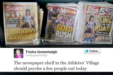 No pressure on the Olympians in the athletes' village (Professor Trisha Greenhalgh)