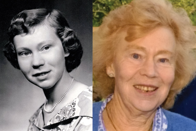 Dr Russell in 1957 (left), the year she qualified as a doctor and present day