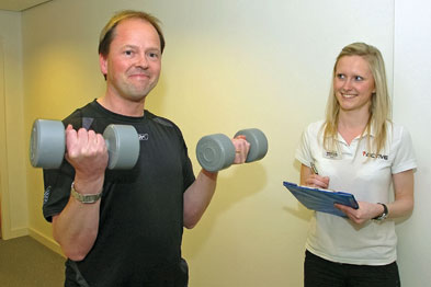 dr Robert Smyth with physical activity referral oficer Katie Wilson raising awareness of exercise schemes (Photograph: The Gazette, Blackpool)