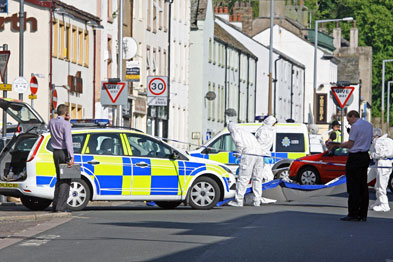 Aftermath of the shooting in Cumbria (Photograph: rexfeatures)