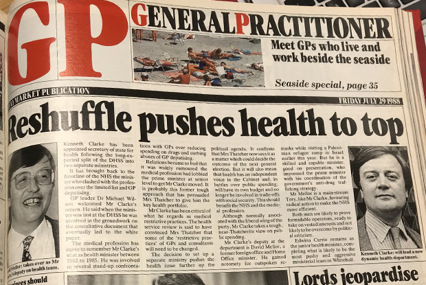 Kenneth Clarke is made health secretary in July 1998. He would go on to impose the 1990 GP contract on the profession