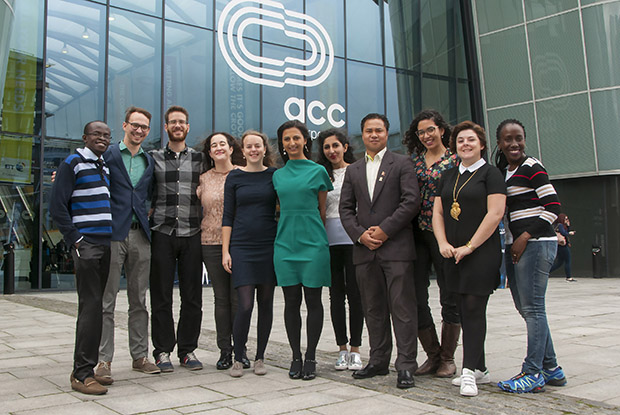 Dr Chetty (centre) and some of the international GPs who took part in the exchange (Photo: Pete Hill)
