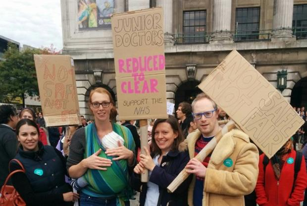 Dr Sarah Hamer (second from right) during Nottingham junior doctor protests