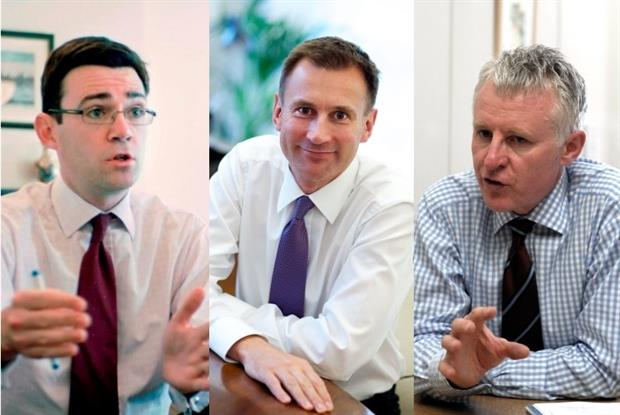 Andy Burnham, Jeremy Hunt and Norman Lamb (left to right): health debate (Photos: JH Lancy and Charlie MacDonald)