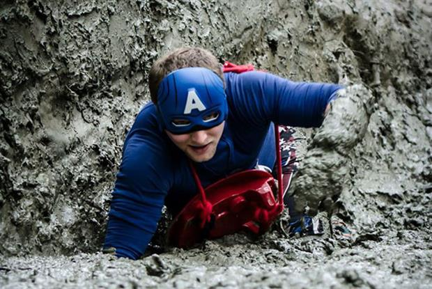 Why is Dr Boardman dressed as Captain America? Pic: Pukka Races