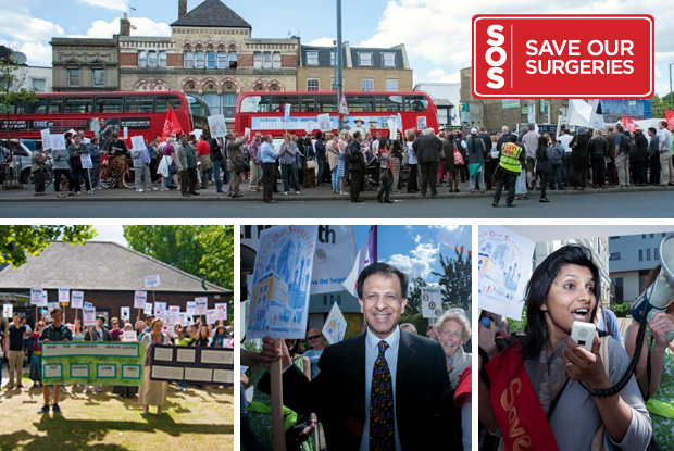 Clockwise from top: SOS protesters in east London, a speaker at the March, GPC chairman Dr Chaand Nagpaul, and Essex University student protesters