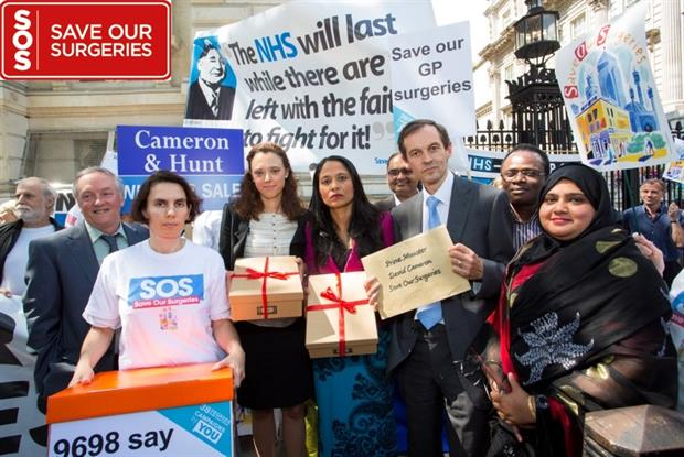 Save our Surgeries: Protesters outside Downing Street (Photo: Alex Deverill)