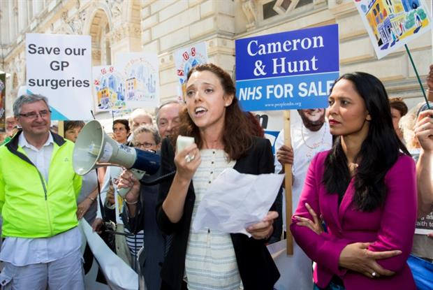 Save Our Surgeries: Jubilee Street practice manager Virginia Patania leads protest (Photo: Alex Deverill)