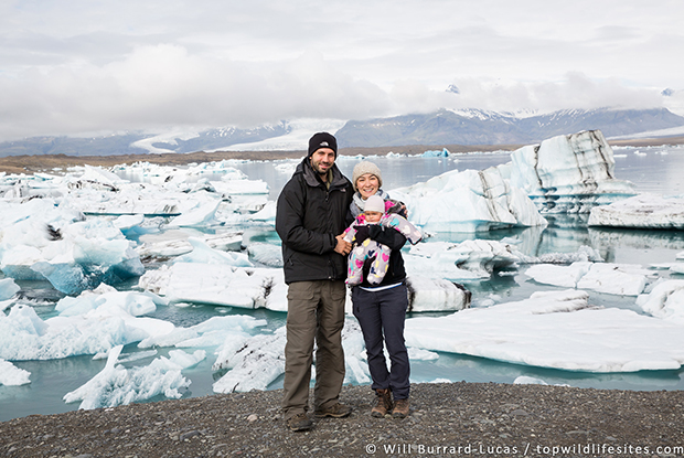 Natalie Burrard-Lucas with husband Will and their daughter Primrose at Jokulsarlon Glacier Lagoon, Iceland