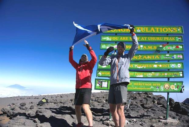 Dr Andrew Murray and running partner Donnie Campbell at the summit of Mount Kilimanjaro