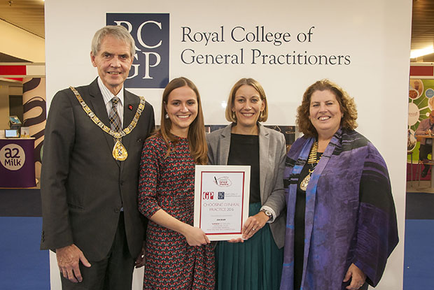 Dr Zoe Bush, second left, pictured with RCGP president Dr Terry Kemple, GPonline editor Emma Bower and RCGP chair Dr Maureen Baker