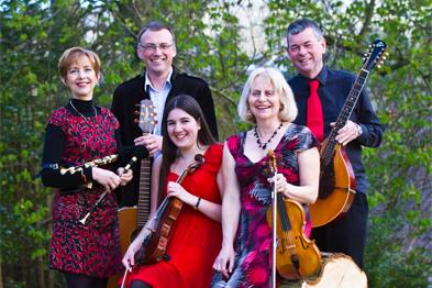 Dr Lambourn (right) with members of the ceilidh band