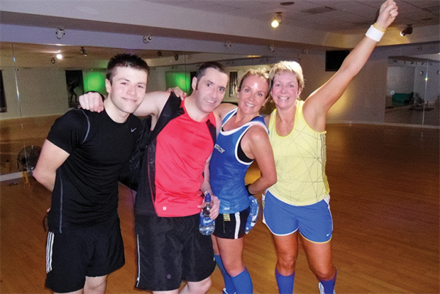 Dr Kevin McConville (second left) in fitness class
