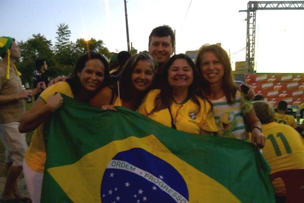 Dr Paul Fourie with Brazil fans ahead of the Medical World Football Championship