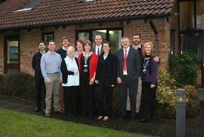 Staff from the Red and Green Practice, New Forest, Hampshire including Dr Redmill (second from left)