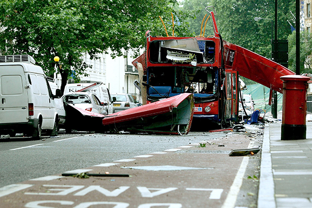 London bus bomb: Number 30 bus destroyed outside BMA House in Tavistock Square (Photo: REX Shutterstock)
