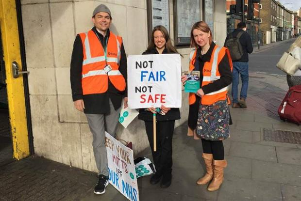 Junior doctors on strike outside Tooting Bec station, London
