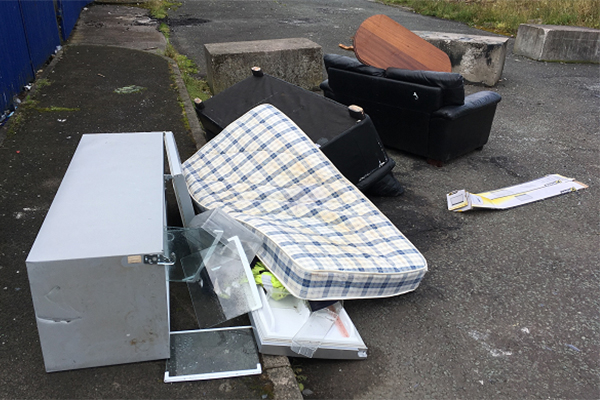 Fly-tipped mattress