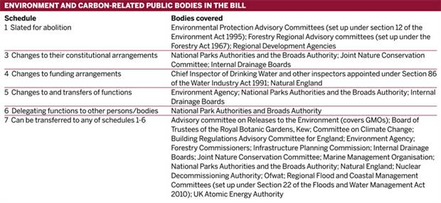 Table: Environment and carbon-related public bodies in the bill