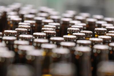 Drink bottles on a conveyor belt