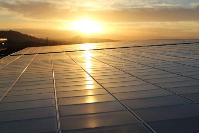 Solar panels at Worthy Farm, home of the Glastonbury Festival, currently one of the UK's largest solar installations at 200 kilowatts peak capacity. Credit: Solarsense UK Ltd